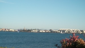 View of Naval Base Coronado from Harbor Island Drive