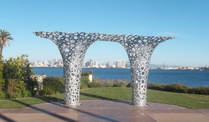 """Island Arbor,"" a piece of public art by Christopher Puzio at Tom Ham's Lighthouse on Harbor Island (City of San Diego in the background)"